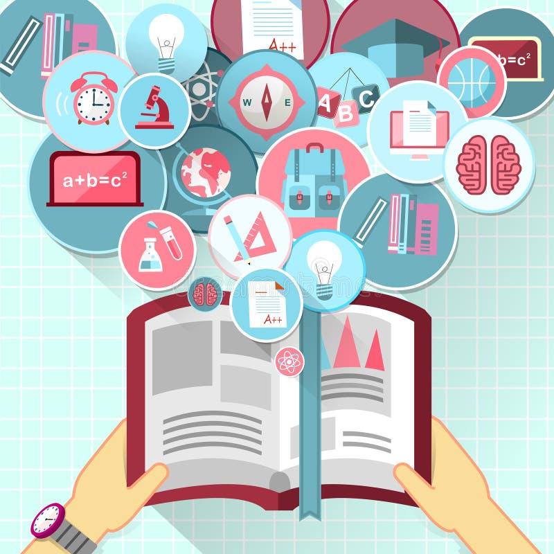 Progettazione piana per la persona con un libro in mani illustrazione vettoriale