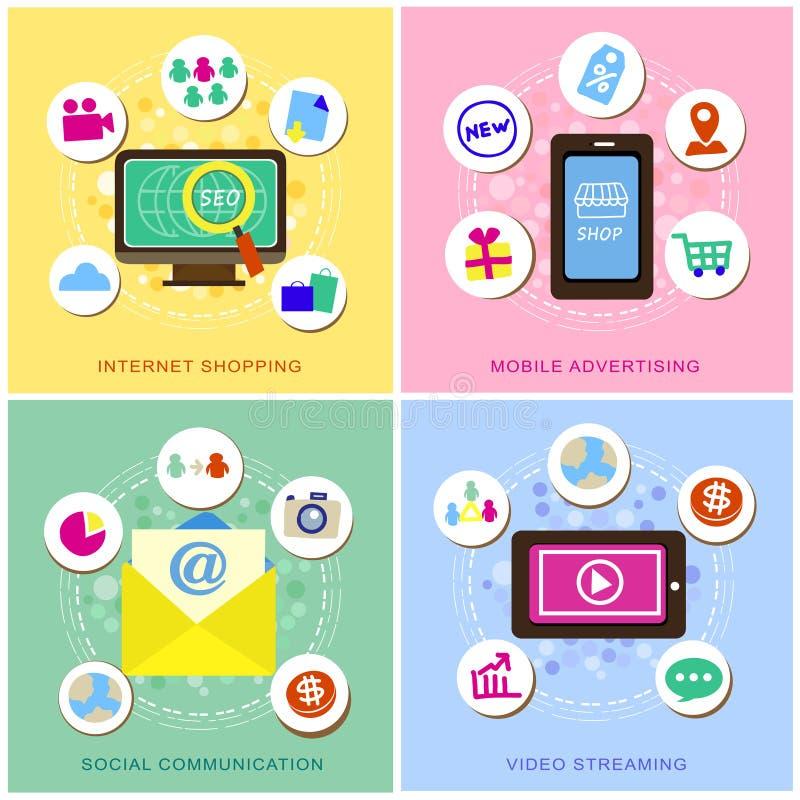 Progettazione piana per le icone di commercio elettronico messe illustrazione di stock
