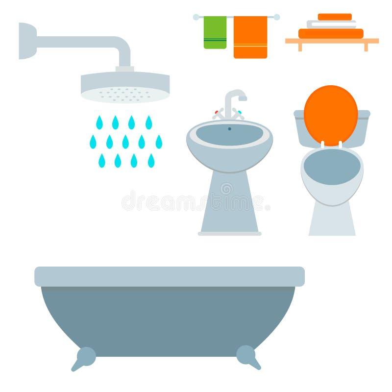 Progettazione piana pulita di igiene dell'illustrazione di stile del bagno della ciotola di toilette dell'icona dell'attrezzatura royalty illustrazione gratis