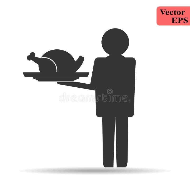Progettazione piana semplice del supporto del cameriere dell'uomo con la copertura dell'alimento della tenuta ed il pollo arrosti royalty illustrazione gratis
