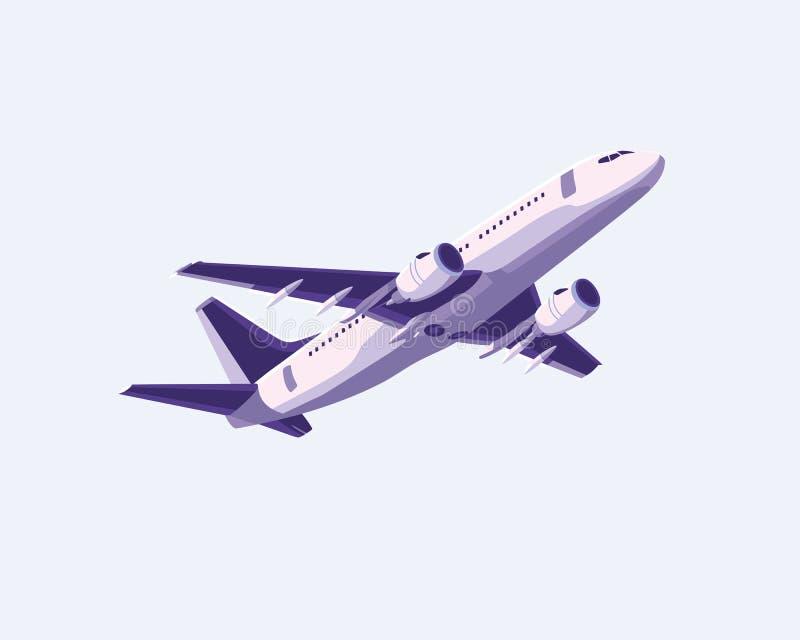 Progettazione piana semplice dell'aeroplano con colore porpora illustrazione di stock