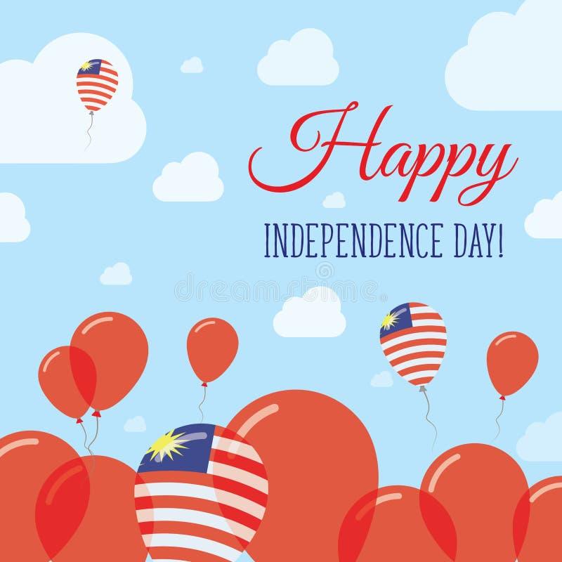 Progettazione pianamente patriottica di festa dell'indipendenza della Malesia illustrazione di stock