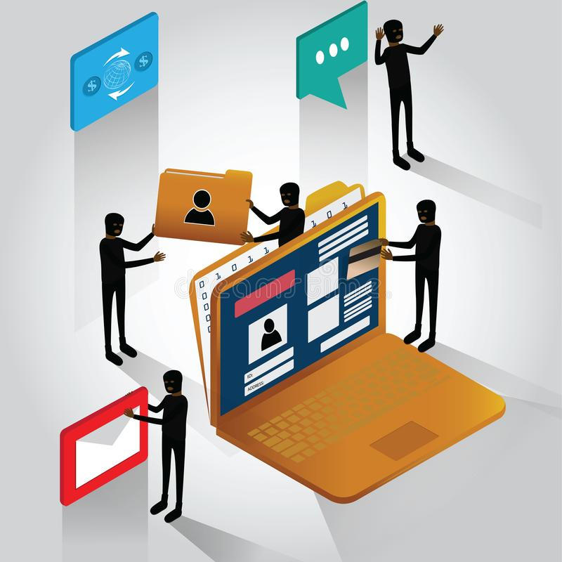 progettazione piatta del concetto di sicurezza informatica, attacchi hacker e cibercriminalità, attività di hacker, hacker che ru illustrazione vettoriale