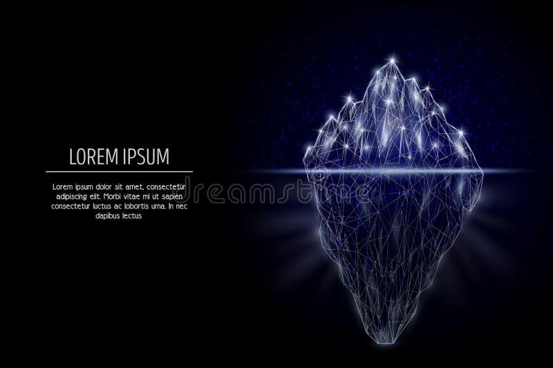 Progettazione poligonale geometrica di stile di arte di vettore dell'iceberg illustrazione di stock