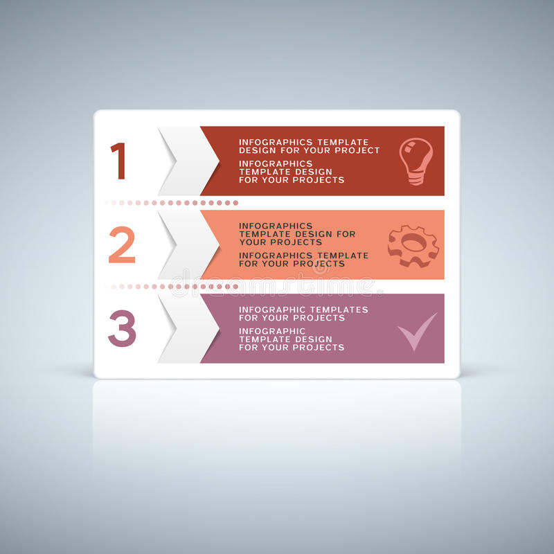 Progettazione porpora rossa della linguetta del informazione-grafico con i numeri illustrazione di stock