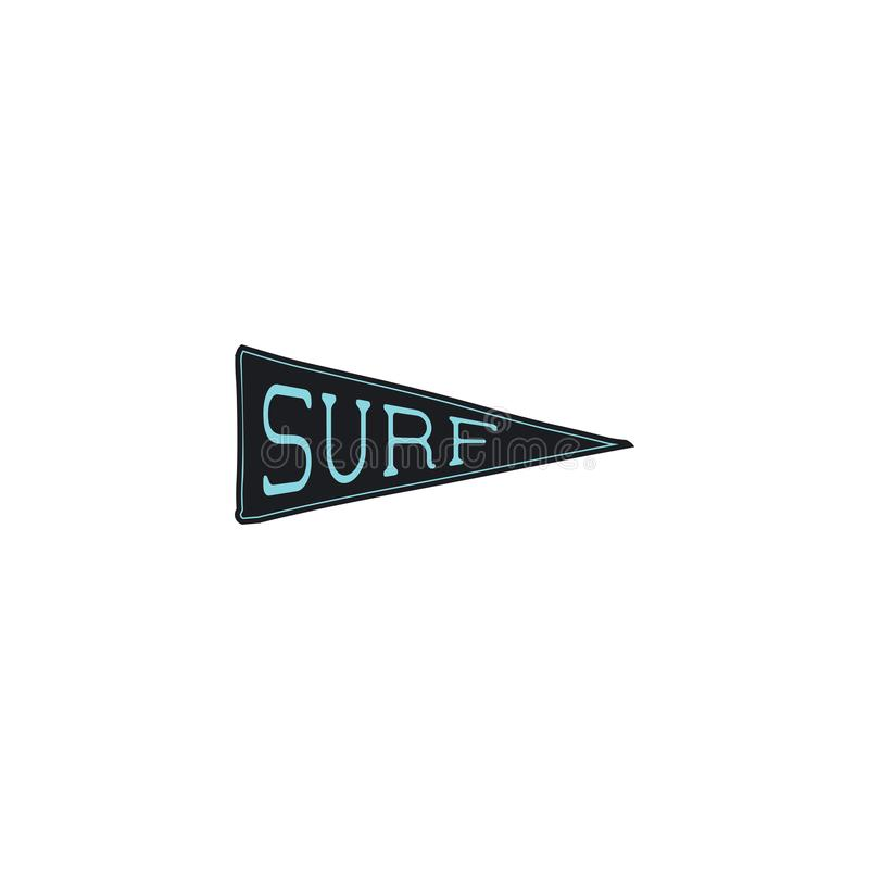 Progettazione praticante il surfing dell'icona dello stendardo Concetto semplice del pendente della spuma Azione isolate su fondo illustrazione vettoriale