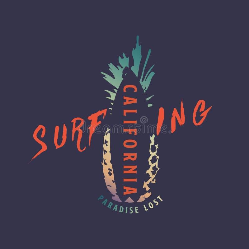 Progettazione praticante il surfing della maglietta di California di estate Vettore Illustartion ENV 10 illustrazione di stock