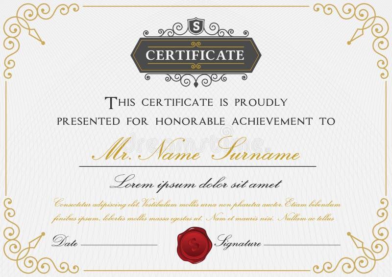 Progettazione premio del modello del certificato illustrazione vettoriale