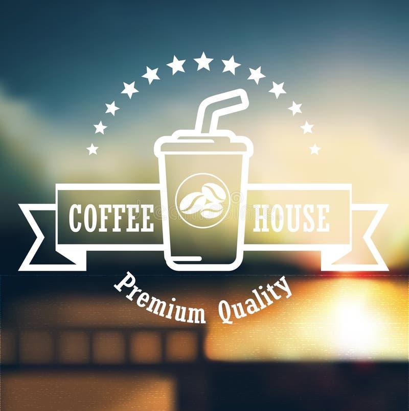 Progettazione premio dell'etichetta del caffè sopra il fondo di defocus illustrazione vettoriale
