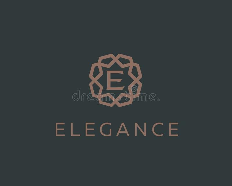 Progettazione premio di vettore dell'icona di logo della lettera E Logotype di lusso del bordo della gemma della struttura dei gi illustrazione vettoriale