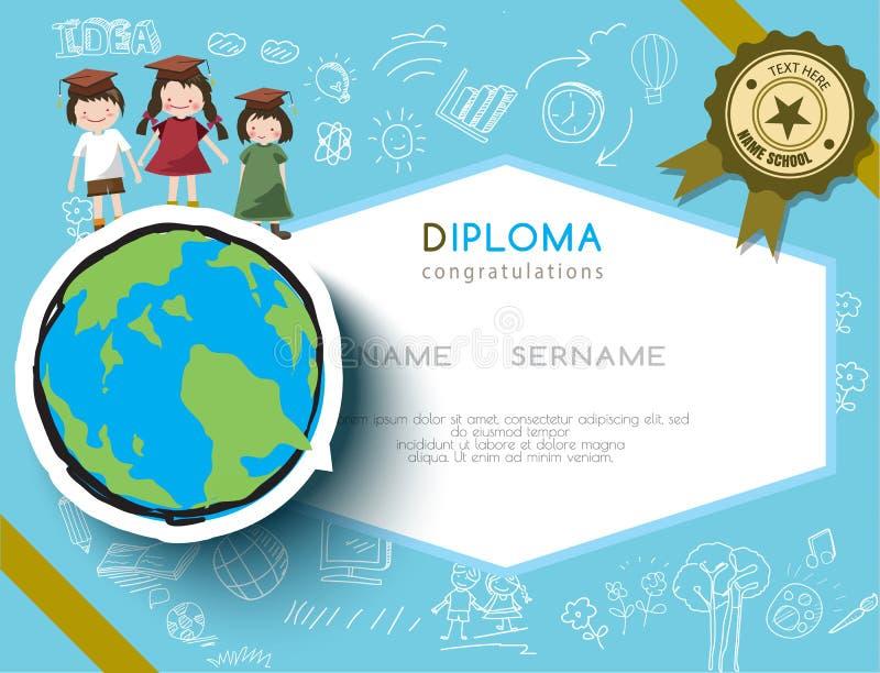 Progettazione prescolare della scuola elementare del certificato del diploma dei bambini illustrazione vettoriale