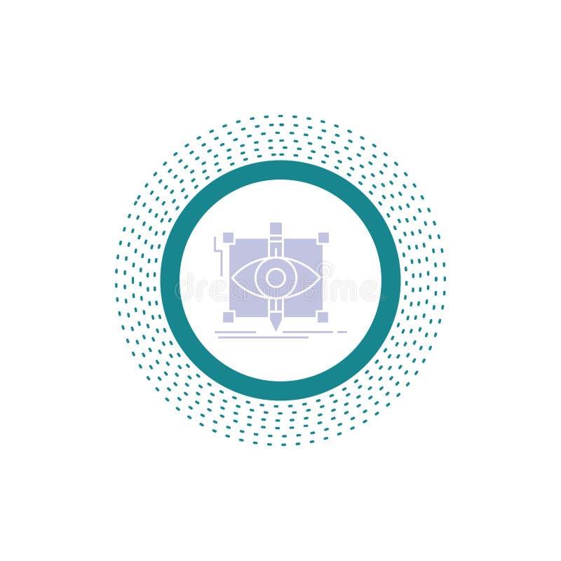 progettazione, progetto, schizzo, schizzando, icona visiva di glifo Illustrazione isolata vettore illustrazione di stock