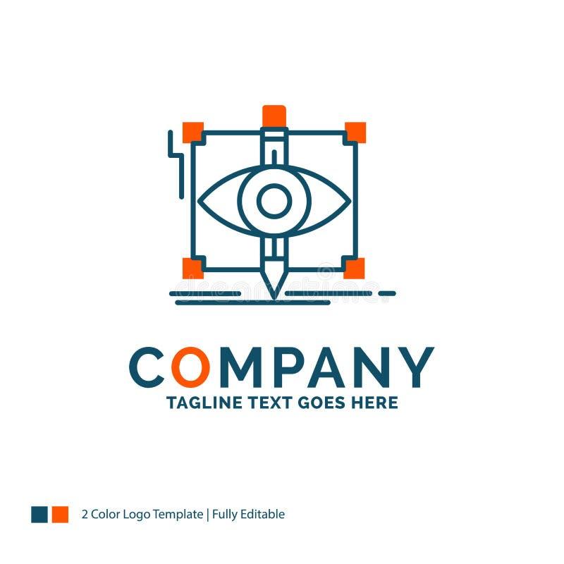 progettazione, progetto, schizzo, schizzando, Logo Design visivo Blu ed O illustrazione di stock