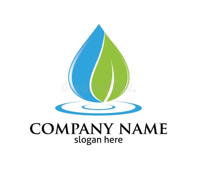 Progettazione pura di logo di vettore di fonte della foglia della goccia di acqua royalty illustrazione gratis