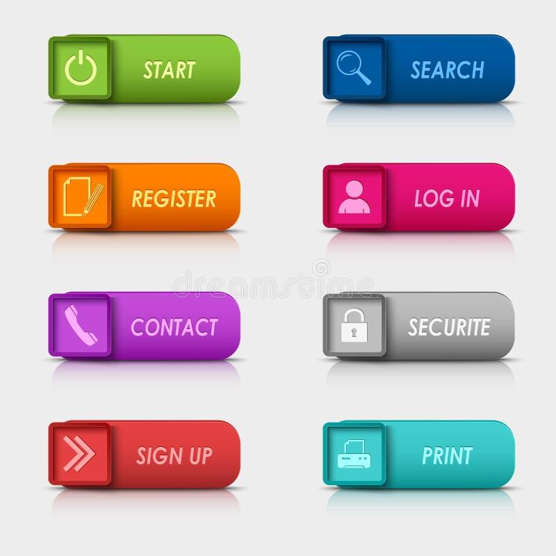 Progettazione quadrata rettangolare dei bottoni di web dell'insieme colorato illustrazione vettoriale