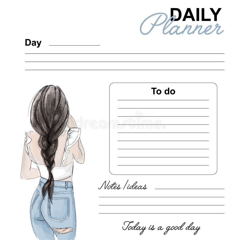 Progettazione quotidiana di modo del pianificatore Pagina di vettore della lista di giorno della data Modello quotidiano con il d illustrazione vettoriale