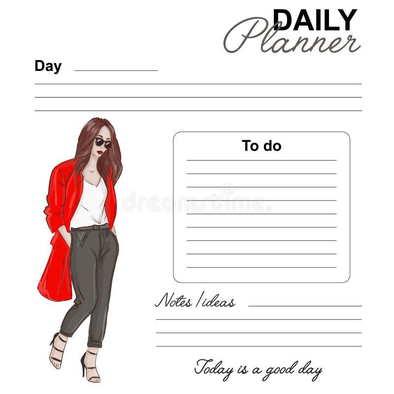 Progettazione quotidiana di modo del pianificatore Pagina di vettore della lista di giorno della data Modello quotidiano con il d illustrazione di stock