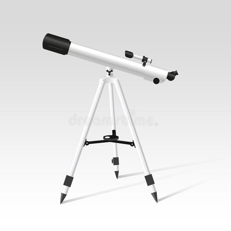 Progettazione realistica del telescopio su fondo bianco royalty illustrazione gratis
