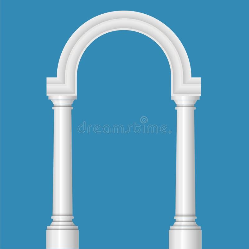 Progettazione realistica dell'arco Architettura antica del fondo blu royalty illustrazione gratis