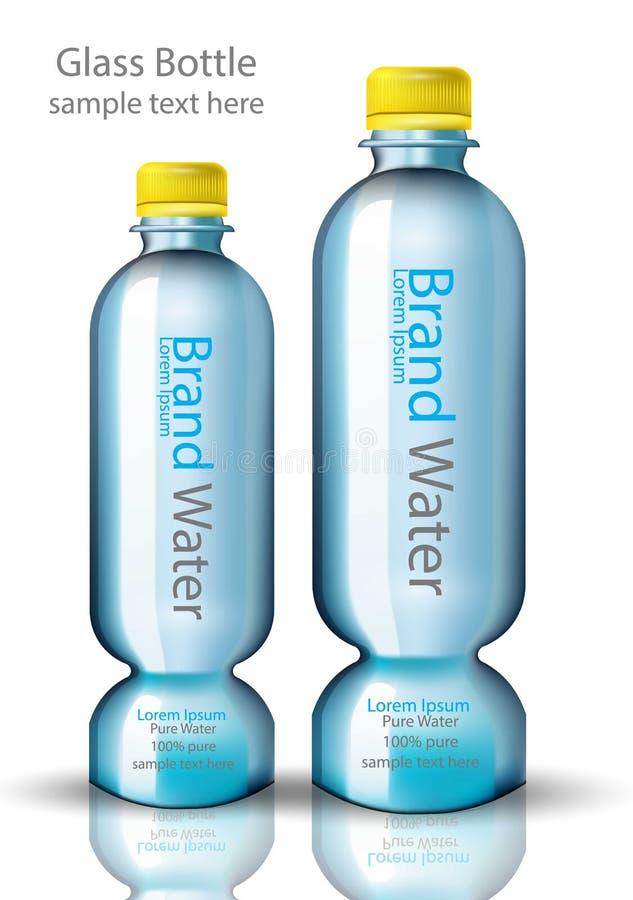 Progettazione realistica di vettore originale di forma della bottiglia di acqua Derisione d'imballaggio del prodotto sull'illustr illustrazione di stock