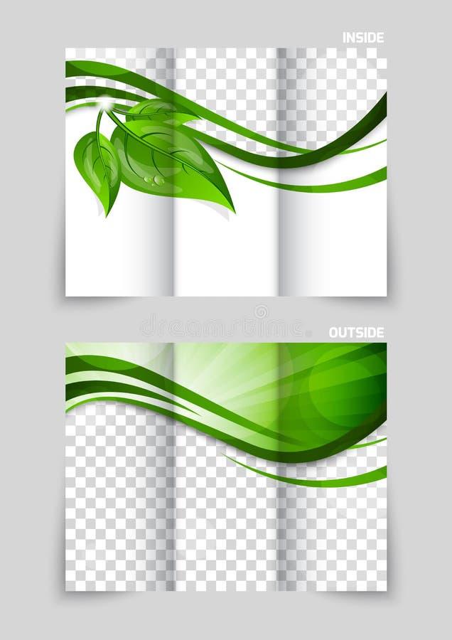 Progettazione ripiegabile del modello dell'opuscolo illustrazione di stock