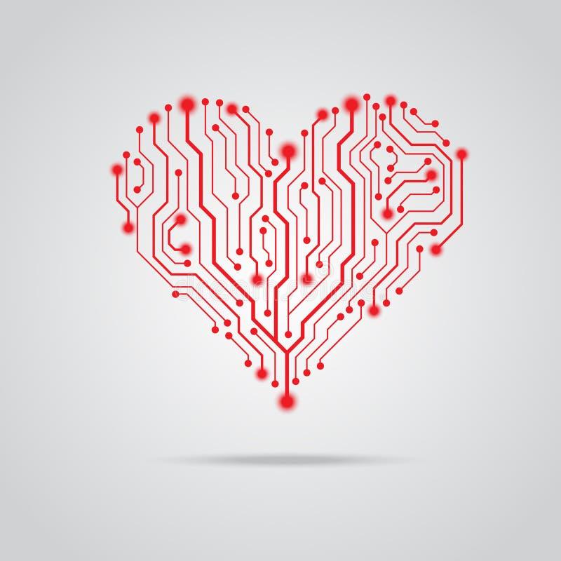 Progettazione rossa del cuore del PWB di vettore illustrazione di stock