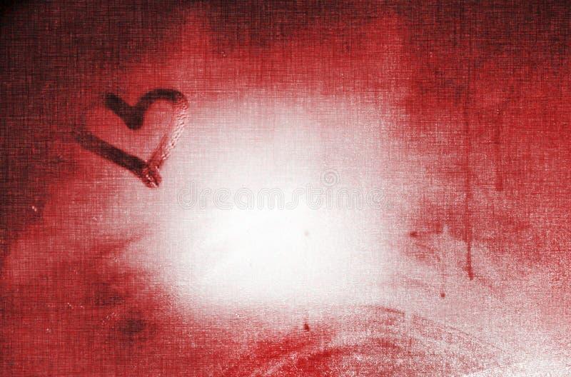Progettazione rossa del fondo della carta di giorno di S. Valentino del cuore di amore di stile di lerciume fotografia stock libera da diritti