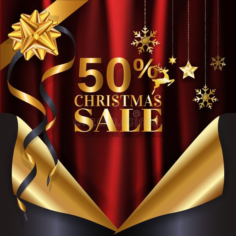 Progettazione rossa del ricciolo della pagina del fondo dell'insegna di vendita di Natale dell'oro pronta per l'uso per il manife illustrazione vettoriale