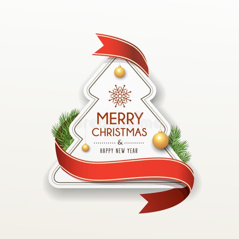 Progettazione rossa di carta dell'etichetta del nastro di Buon Natale illustrazione di stock