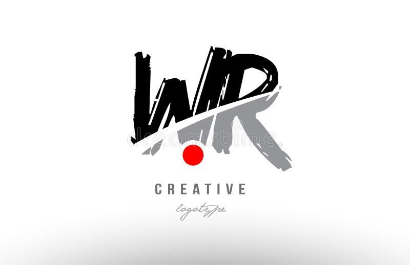 progettazione rossa di combinazione di logo della lettera di alfabeto del wr w r del punto di lerciume royalty illustrazione gratis