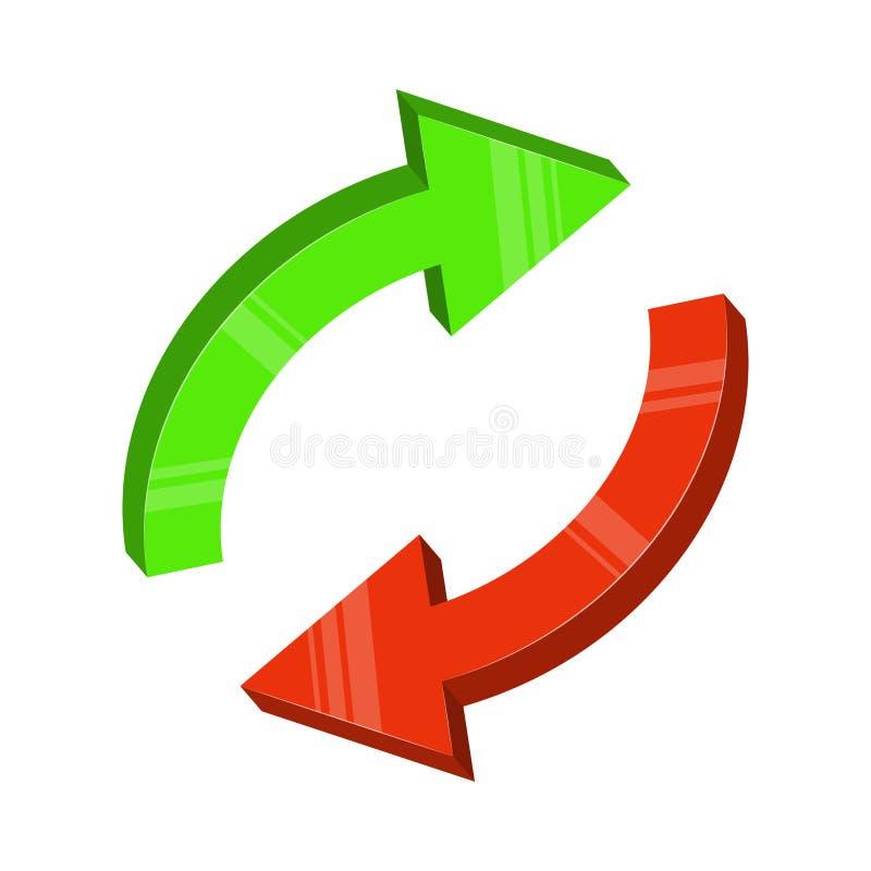 Progettazione rossa verde di vettore del ciclo della freccia isolata su fondo bianco illustrazione di stock