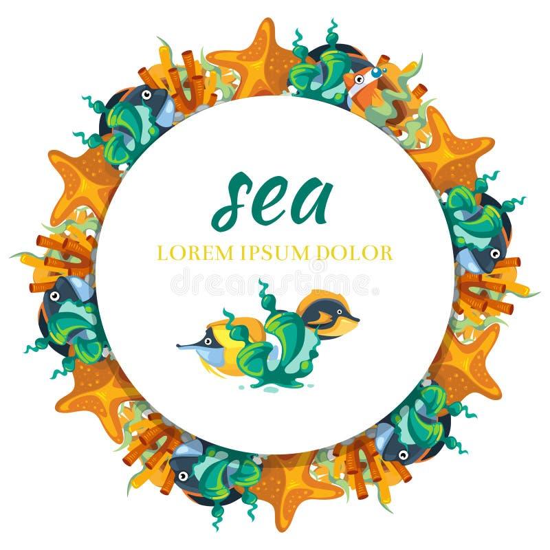 Progettazione rotonda dell'insegna di Sealife - insegna con le alghe ed il pesce del fumetto illustrazione di stock