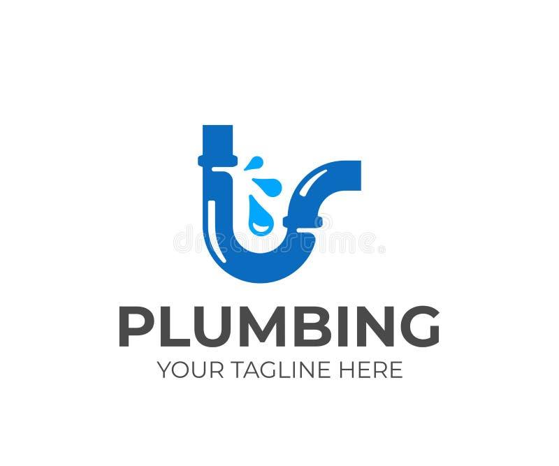 Progettazione rotta di logo della tubatura dell'acqua Scandagliare progettazione di vettore royalty illustrazione gratis