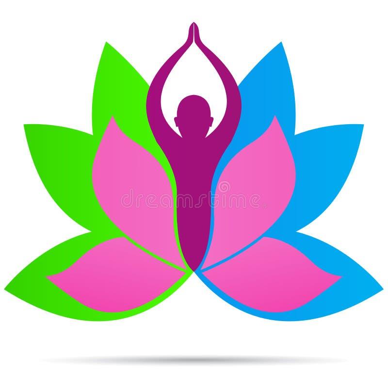 Progettazione sana dell'icona di vettore di simbolo di vita di forma fisica di benessere di logo della gente di yoga di Lotus royalty illustrazione gratis
