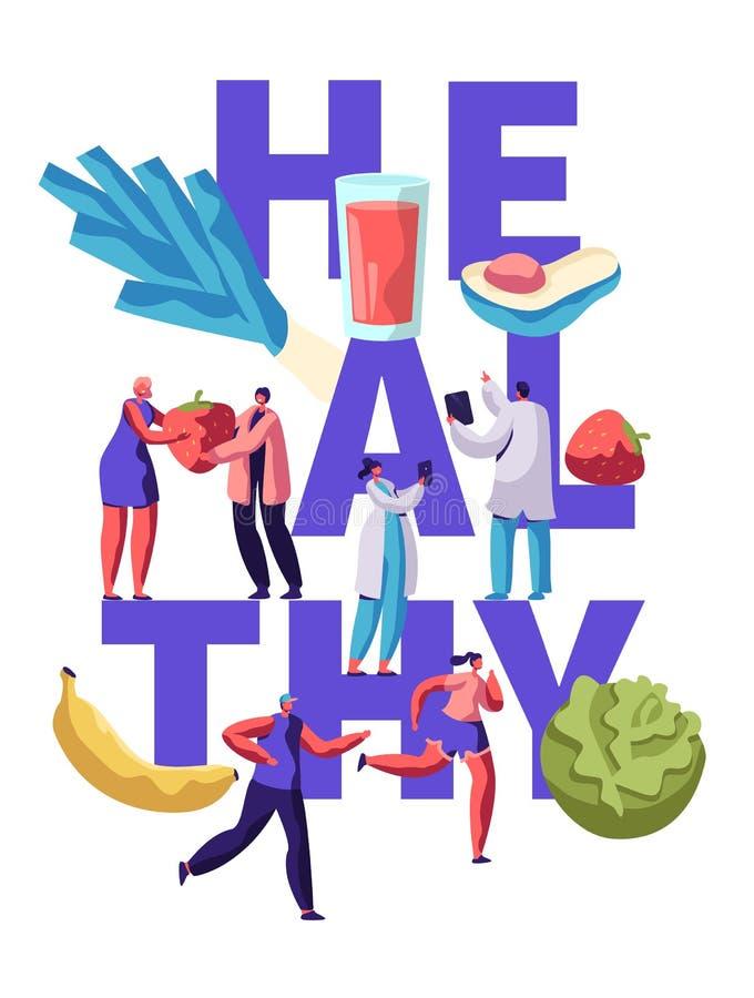 Progettazione sana dell'insegna di tipografia dell'alimento di forma fisica Pasto organico per il concetto di salute di nutrizion illustrazione di stock