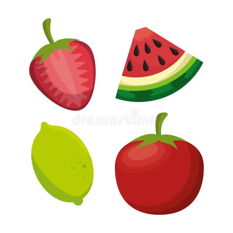 progettazione sana della frutta e del pomodoro dell'alimento fresco royalty illustrazione gratis