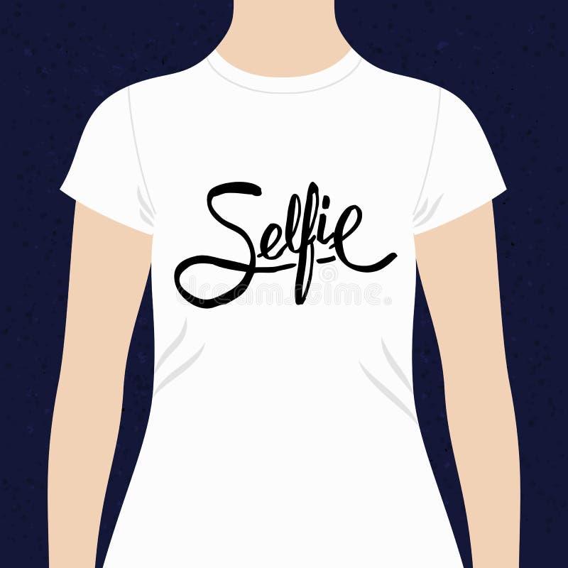 Progettazione semplice del testo di Selfie per una maglietta illustrazione di stock