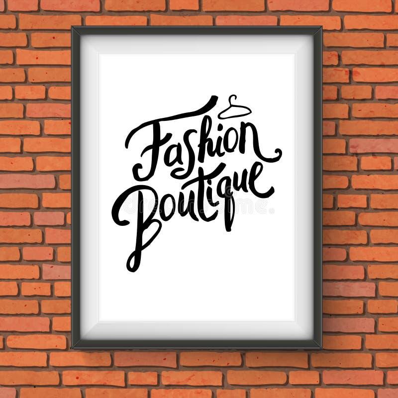 Progettazione semplice del testo per il concetto del boutique di modo illustrazione di stock