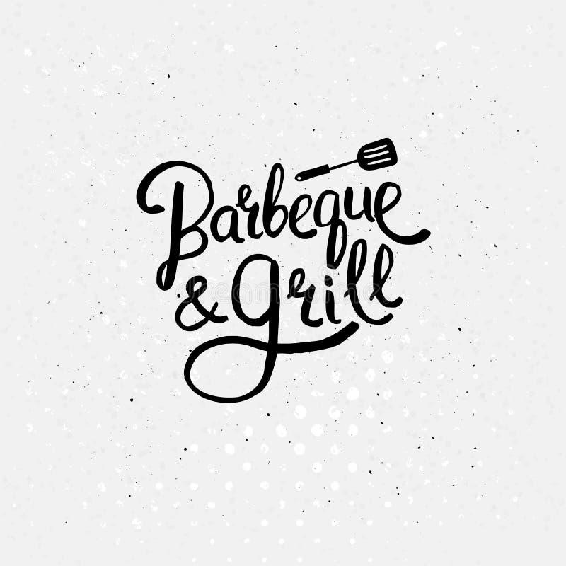 Progettazione semplice del testo per il concetto della griglia e del barbecue royalty illustrazione gratis