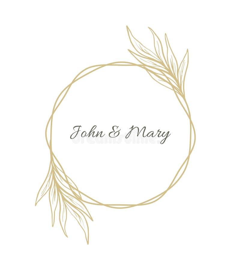 Progettazione semplice della decorazione dell'invito di nozze della corona con le foglie disegnate a mano illustrazione di stock