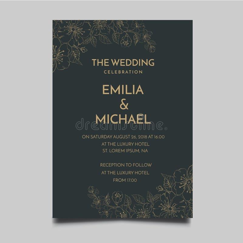 Progettazione semplice ed elegante di nozze del modello floreale dell'invito illustrazione di stock