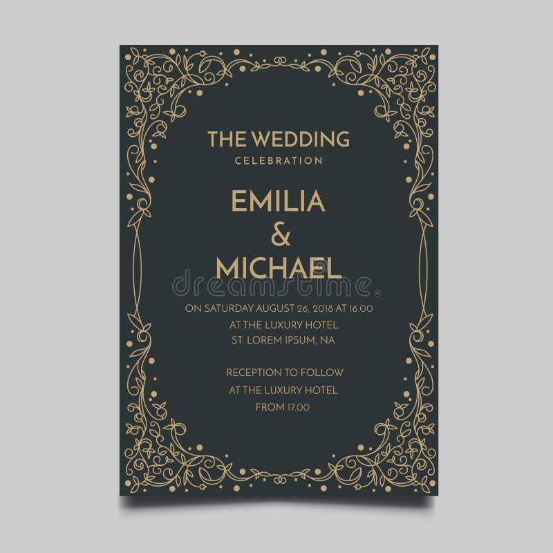 Progettazione semplice ed elegante di nozze del modello floreale dell'invito illustrazione vettoriale