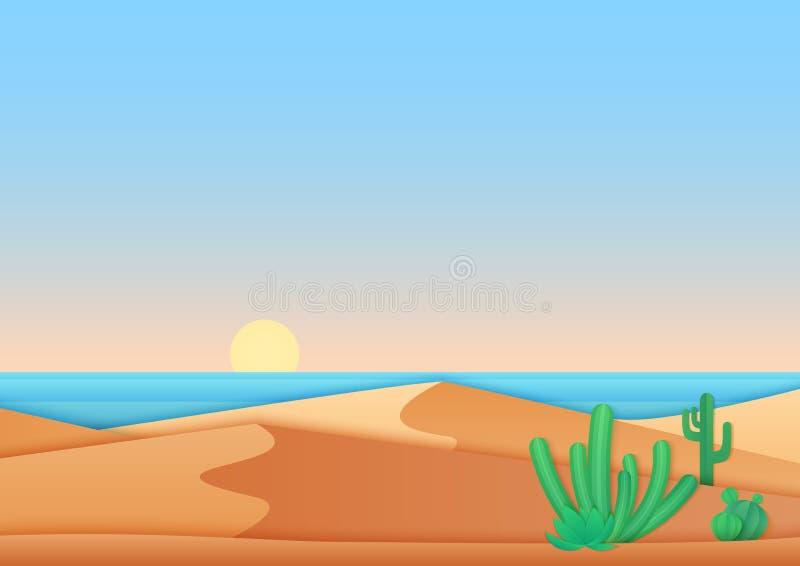 Progettazione semplice piana del deserto vicino all'illustrazione di vettore del paesaggio del mare dell'oceano illustrazione vettoriale
