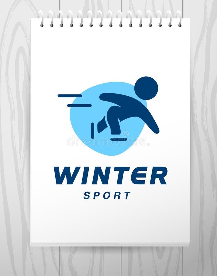 Progettazione semplice piana di logo di sport di vettore isolata su fondo bianco illustrazione di stock