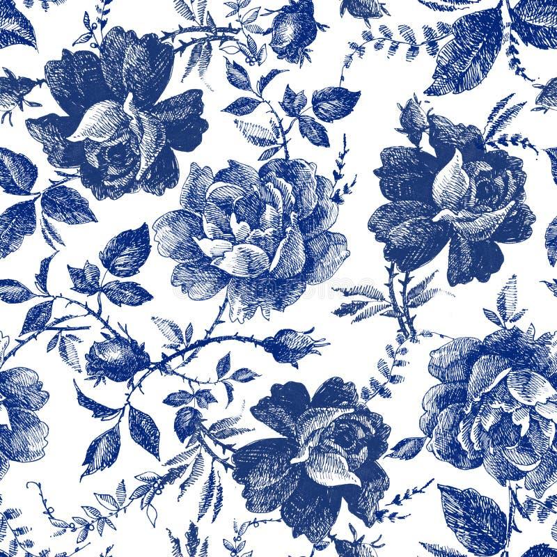 Progettazione senza cuciture con i fiori delle rose Linea grafici botanica d'annata disegnata a mano del modello della foresta di illustrazione vettoriale
