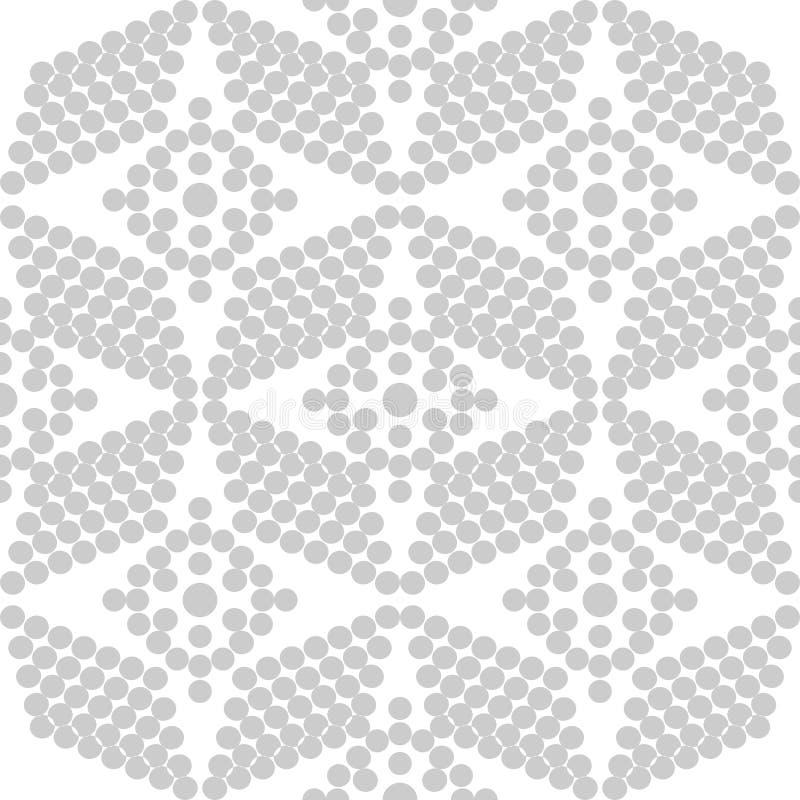 Progettazione senza cuciture del modello di Grey Dots Floral di vettore astratto illustrazione vettoriale