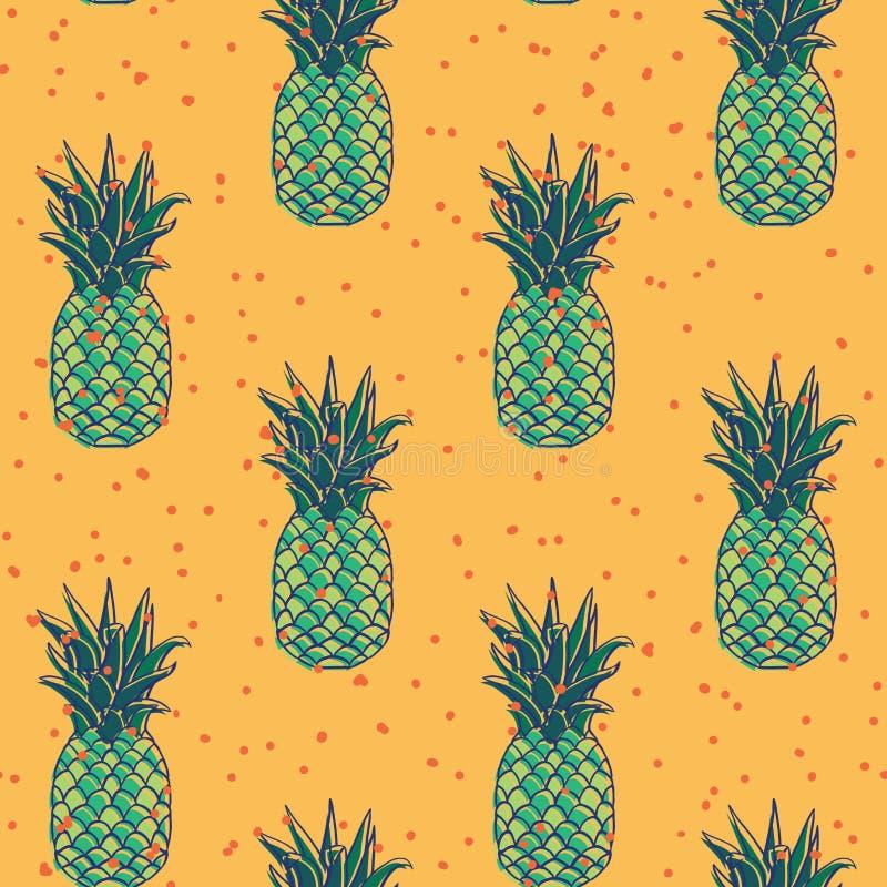 Progettazione senza cuciture del modello di retro festa verde degli ananas di vettore illustrazione vettoriale