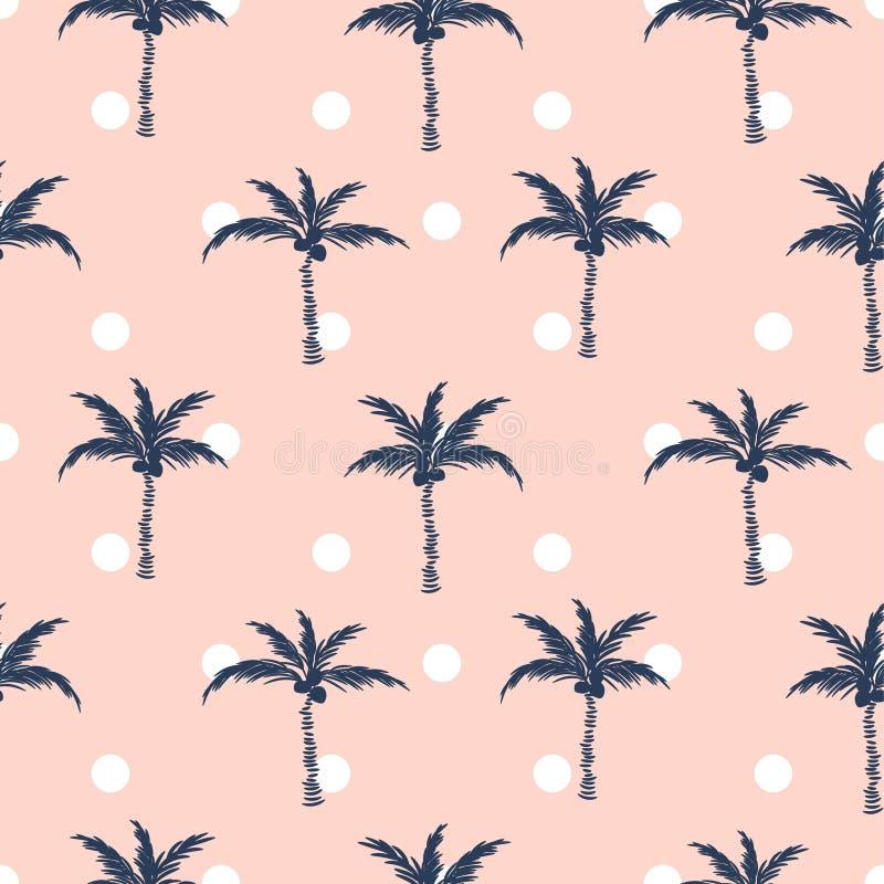 Progettazione senza cuciture del modello di retro stile del pois di rosa delle palme royalty illustrazione gratis