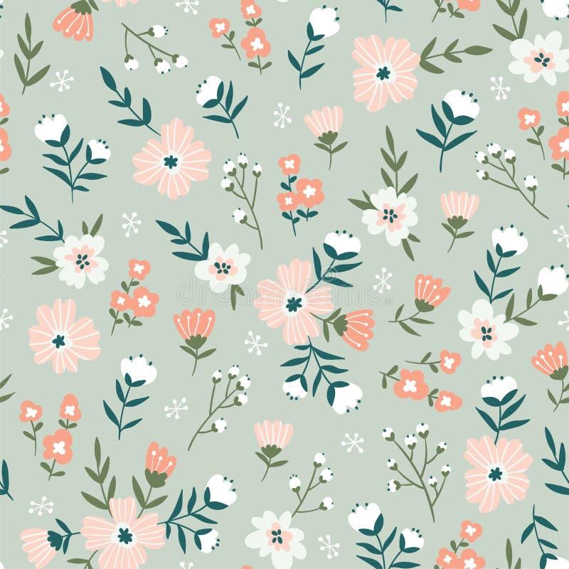 Progettazione senza cuciture del tessuto con i fiori semplici Vector il modello ditsy ripetuto sveglio per tessuto, wallpaper o a illustrazione di stock