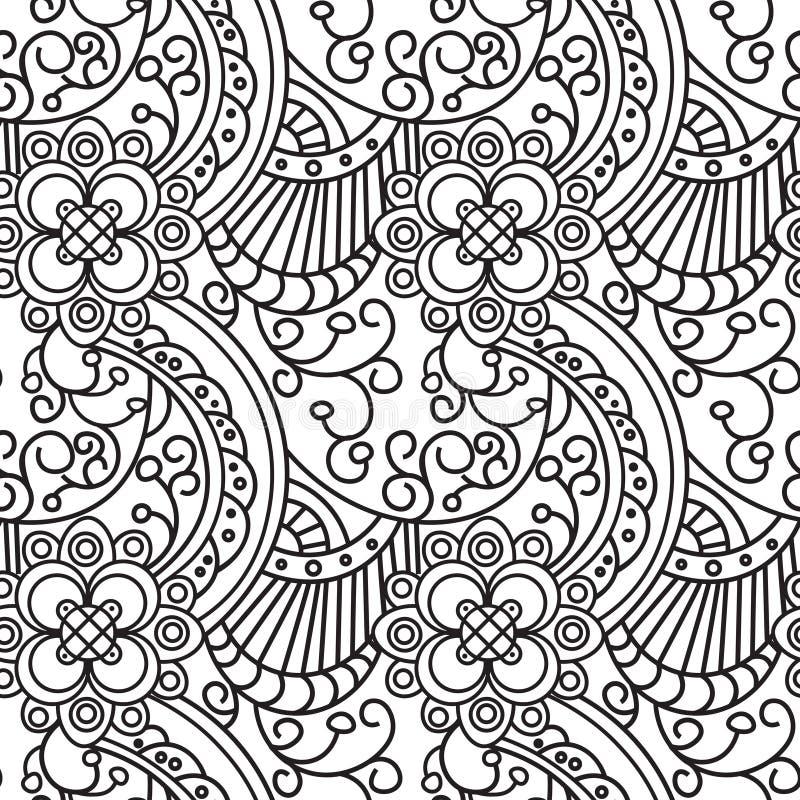 Progettazione senza cuciture della pagina del libro da colorare dell'ornamento di Zentangle del modello illustrazione vettoriale
